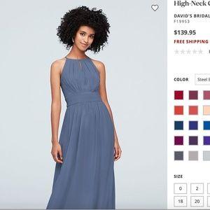 NWT David's Bridal Steel Blue Dress Size 12
